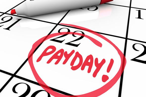 calendar with payday written in marker and circled